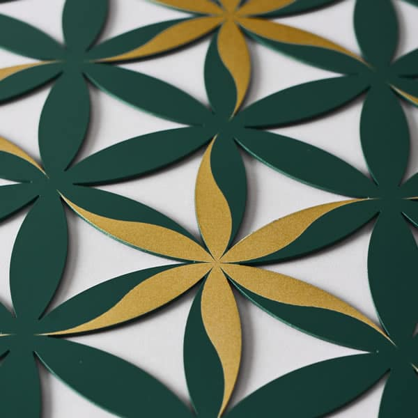 Flower of Life (Floral Pattern) Green With Gold Trim