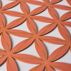 Flower of Life (Line Pattern) Orange With Gold Trim