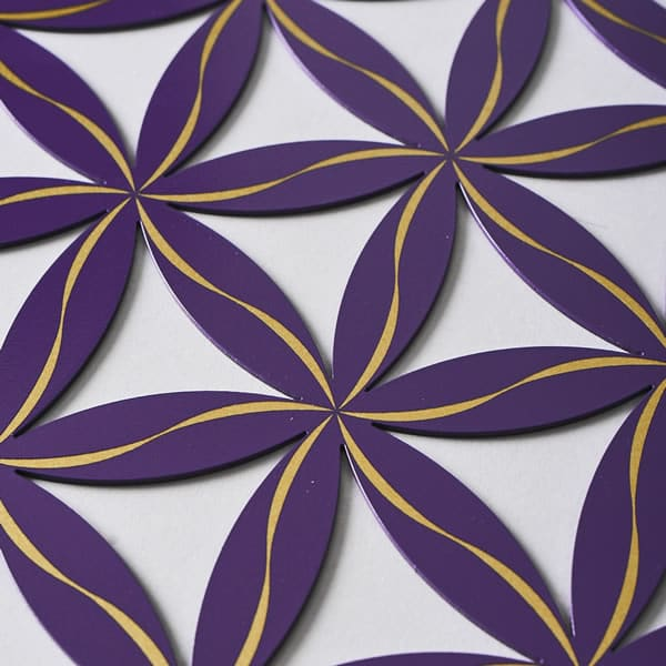 Flower of Life (Line Pattern) Purple With Gold Trim