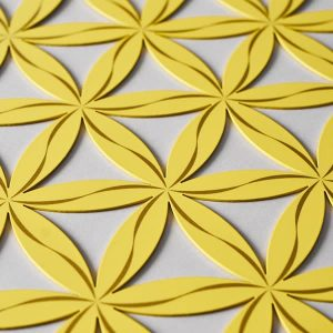 Flower of Life (Line Pattern) Yellow With Gold Trim