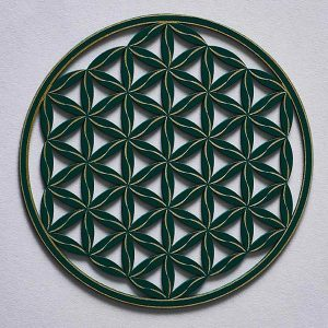 small resonance plate, coaster sized, Flower of life Line Pattern, green with gold trim