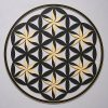 Flower of Life (Floral Pattern) Black With Gold Trim