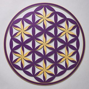 Flower of Life (Floral Pattern) Purple With Gold Trim