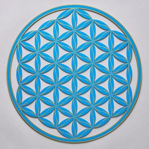 Flower of Life (Line Pattern) Blue With Gold Trim