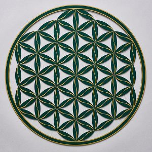 Flower of Life (Line Pattern) Green With Gold Trim