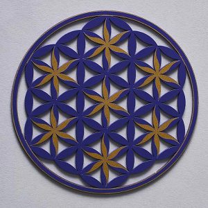 small resonance plate, coaster sized, Flower of life Floral Pattern, purple with gold trim