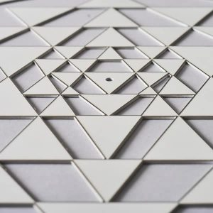 Sri Yantra Pearlescent White with silver trim
