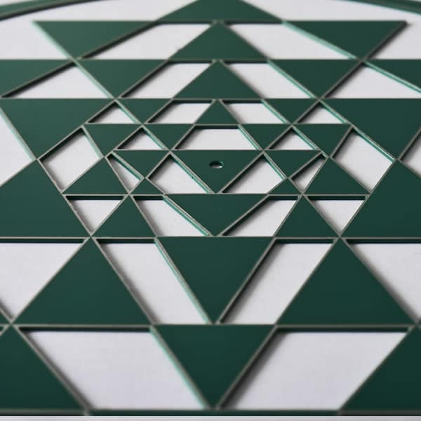 Sri Yantra green with silver trim