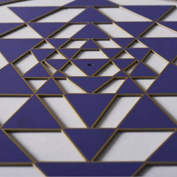 Sri Yantra indigo with gold trim