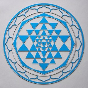 Sri Yantra Blue with silver trim
