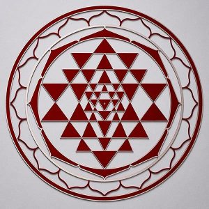 Sri Yantra Red with silver trim