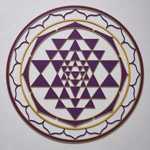Sri Yantra purple with gold trim
