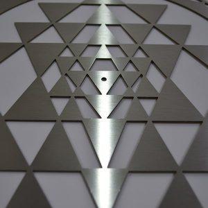 Sri Yantra Stainless Steel resonance plate close up of sacred geometry pattern