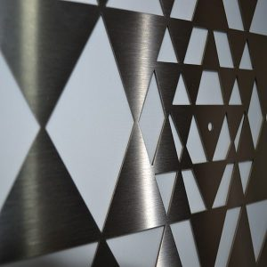 Sri Yantra Stainless Steel Close up of Triangles and Bindi