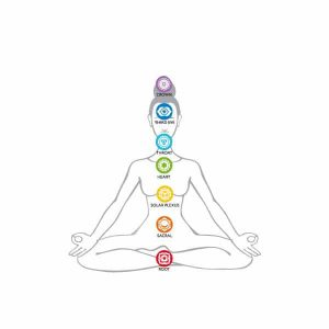 Showing where the seven chakras are based on the human body