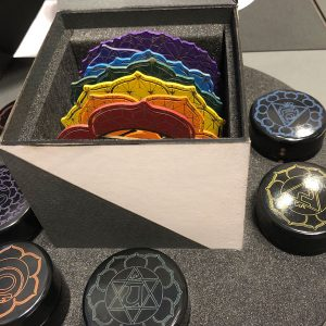Seven steel chakra plate collection with the seven 15ml alignment cream - the entire collection