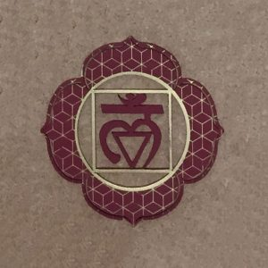 The root steel Chakra plate part of a seven chakra collection. A tool to be used as part of meditation and healing